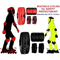 UNYBUY® Protective Skating Guard Kit for Kids   Skate + Cycling Protection Set   Multi Sport Gear for Children Age 6-16 Years   Set of 7 Pc   Helmet Elbow Guards Knee caps Hand Gloves 7 in 1