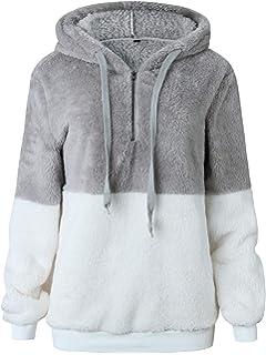TEMOFON Womens Long Sleeve Zipper Casual Hooded Sweatshirt Sherpa Pullover Winter Outwear Jackets Coats Sweaters S