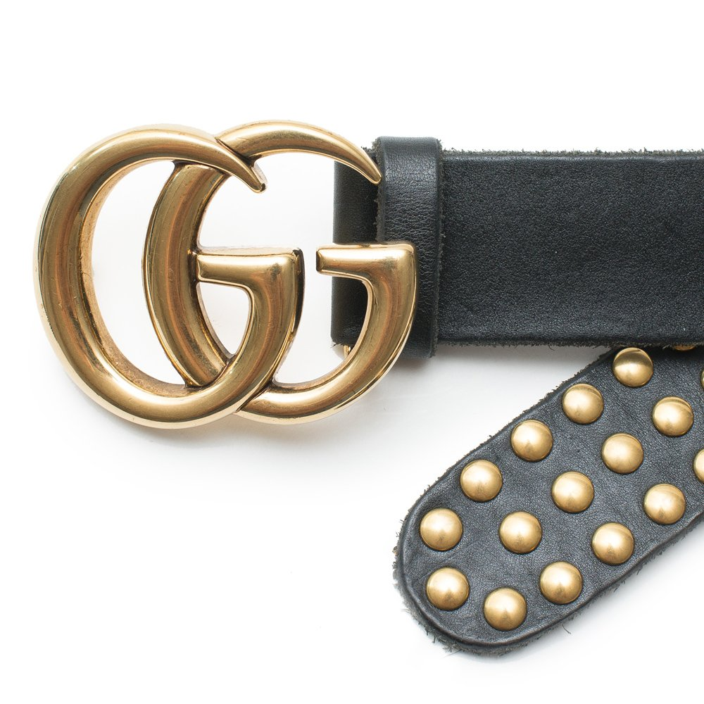 c47b3ac531d Amazon.com  Gucci Belt Marmont GG Studded Black Leather Gold Size 90 cm  Italy Only 1 New  Shoes