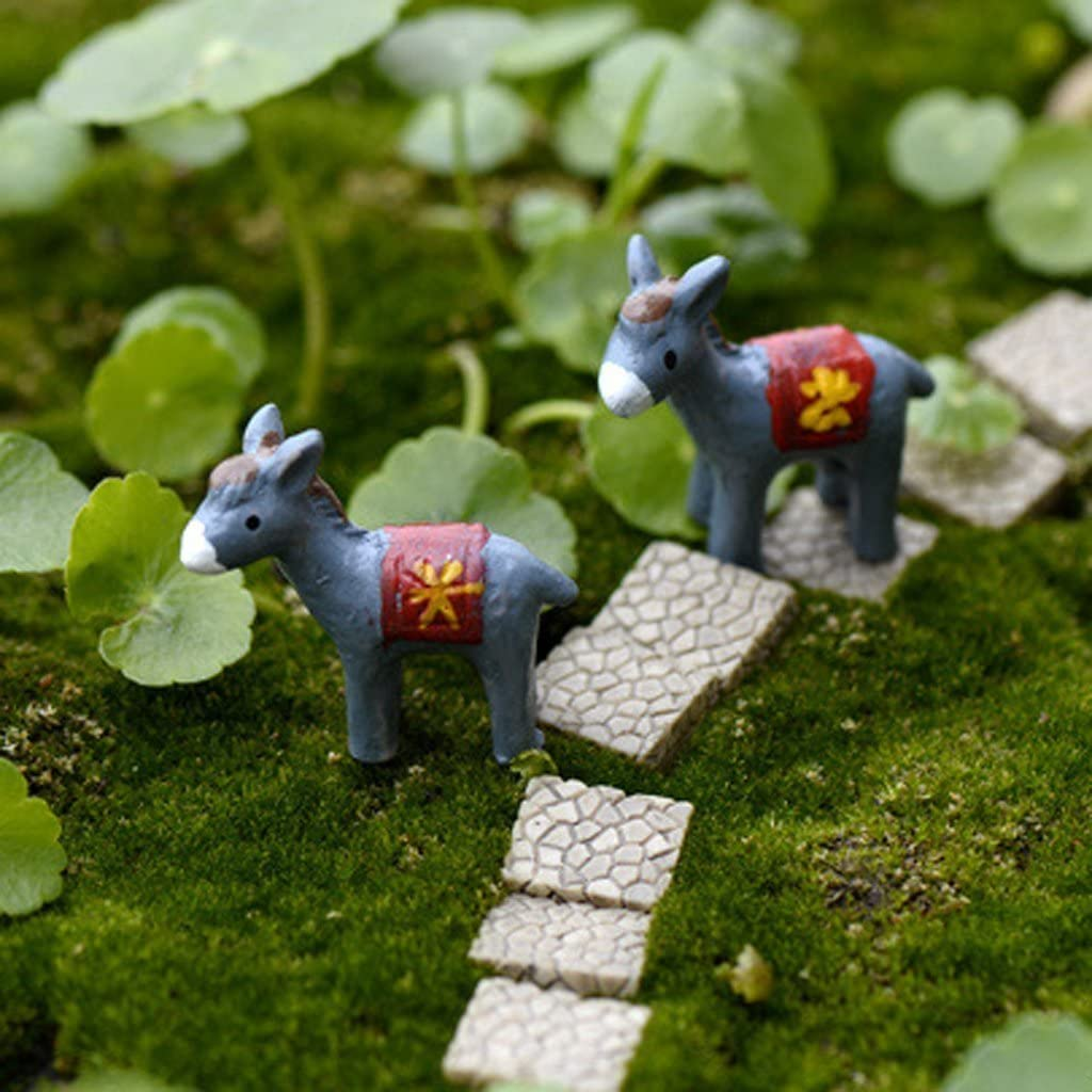 COOLTOP 10pcs Mini Resin Donkeys Bonsai Ornaments Miniature Fairy Garden Micro Landscape Decoration