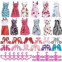 Asiv 36 Pcs Accessoires pour Poupées Barbie, 12 Mode Robes Vêtements +12 Paires de Chaussures +12 Cintres pour Barbie Fashionistas