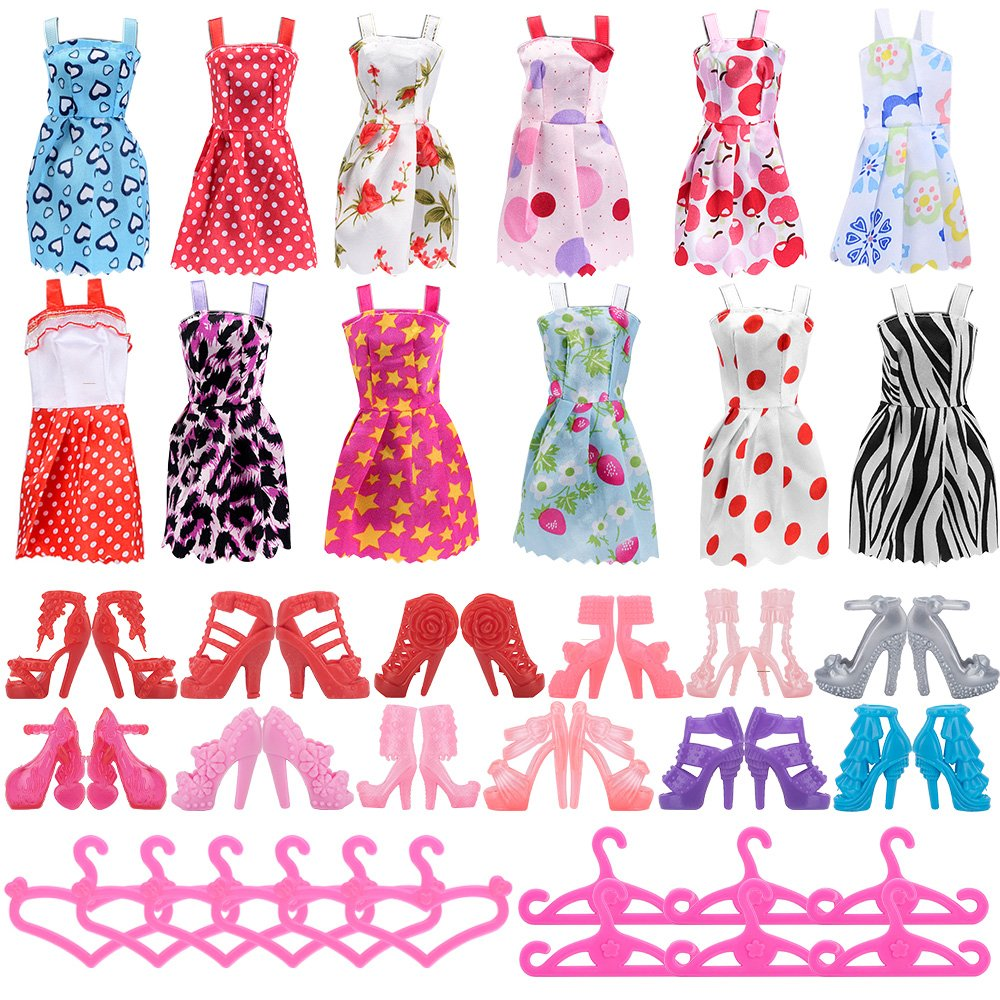 ASIV 36pcs Holiday Party Clothes Accessories for Barbie Doll, Fashion 12 Princess Dress +12 Pair Shoes +12 Pink Hangers for Girls' Present Fashion 12 Princess Dress +12 Pair Shoes +12 Pink Hangers for Girls' Present A00448