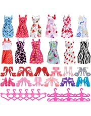 ASIV 36 Pcs Accessories for Barbie Dolls, 12 Pcs Clothes Dress +12 Pairs of Shoes +12 Hangers for Girl's Gift