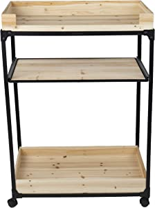Mind Reader 3-Tier Rolling Beverage Utility Pull-Out Shelf, Kitchen Bar Serving Cart, Steel, Wood, Black