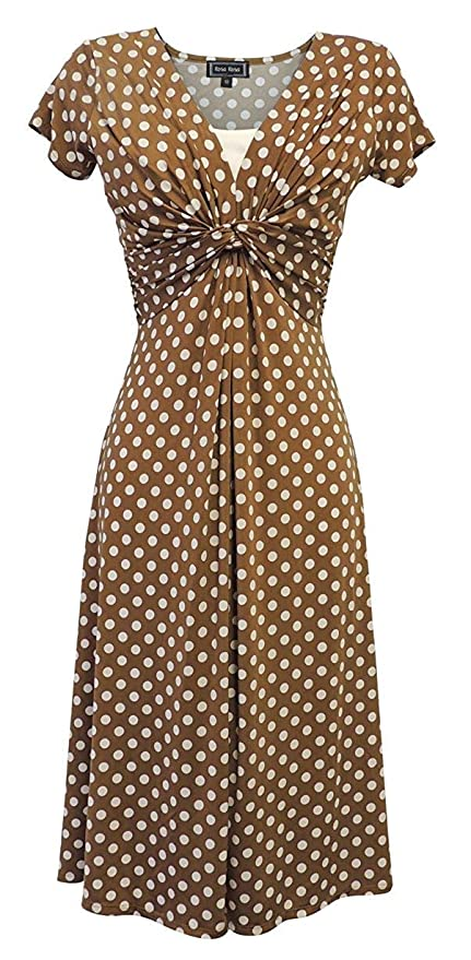 1940s Dresses | 40s Dress, Swing Dress Viva-la-Rosa New Ladies Deco Polka Dot VTG Retro WW2 Land Girl 1940s/50s Pin-up Tea Dress £39.99 AT vintagedancer.com