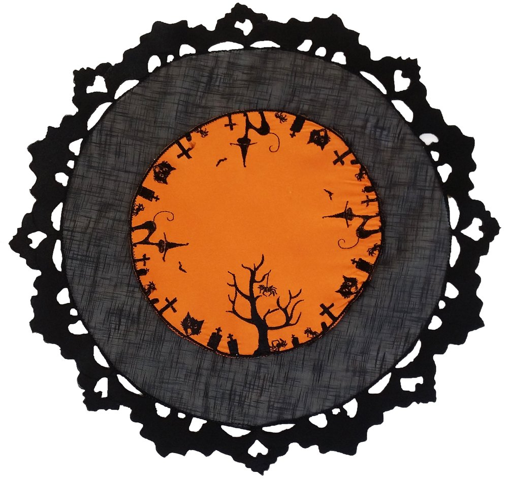 Xia Home Fashions Hallows Eve Embroidered Cutwork 16-Inch Round Halloween Placemat