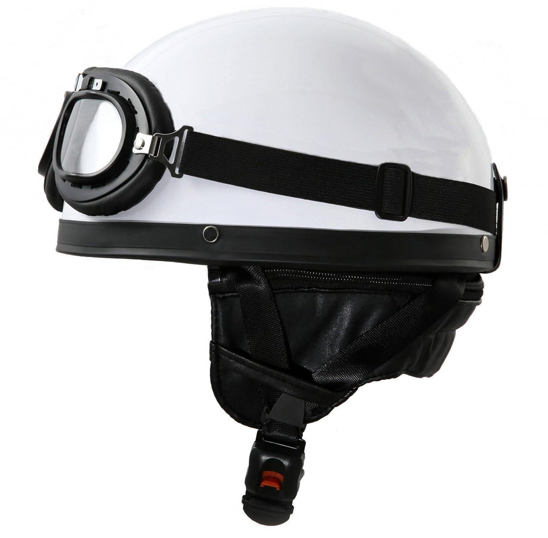 ATO - Casco per moto in stile vintage con occhiali da aviatore, colore bianco, dimensioni: 59-60cm ATO-Helme H110 Weiß L