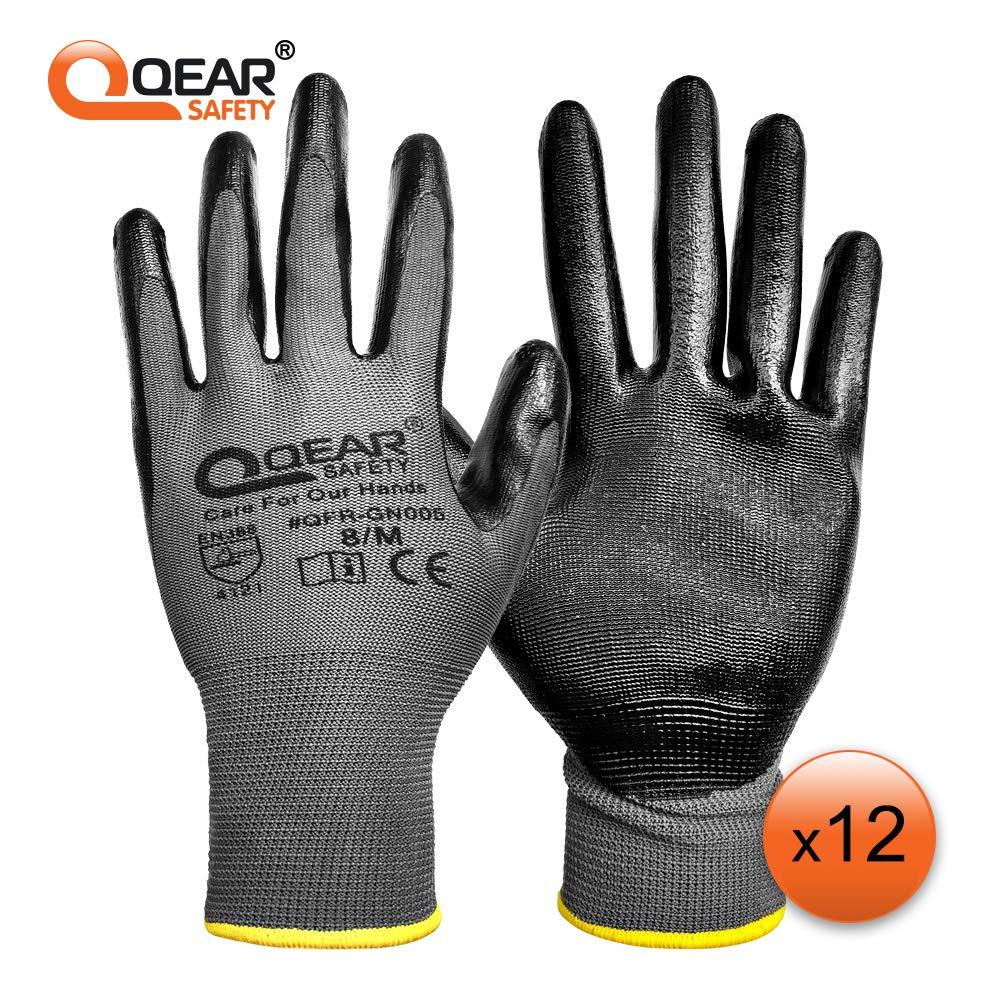bonne abrasion multifonction Lot de 12 paires de gants rev/êtus de caoutchouc nitrile 9 6000 r/ésistant /à l/'huile///à la graisse l/égers