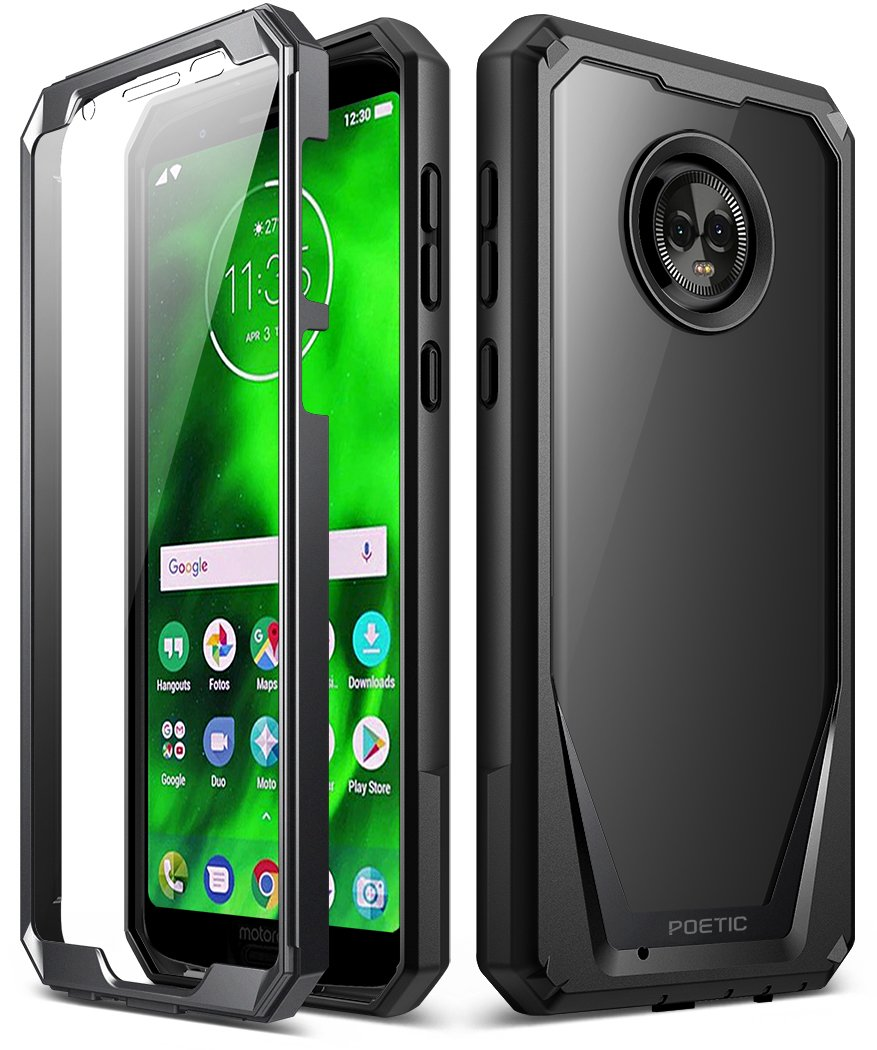 Moto G6 Case, Poetic Guardian [Scratch Resistant Back] [360 Degree Protection] Full-Body Rugged Clear Hybrid Bumper Case with Built-in-Screen ...