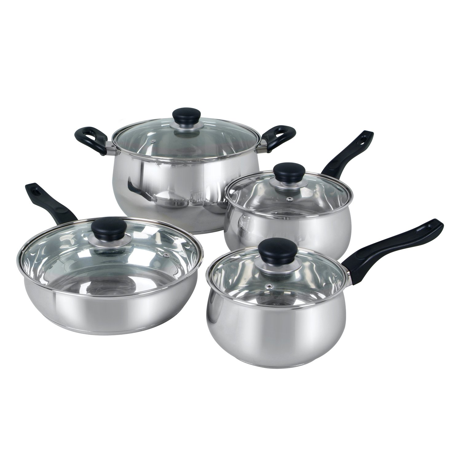 Oster 78719.08 Rametto Stainless Steel 8 Piece Cookware Set, Silver Gibson