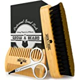 Beard Brush, Comb, Scissors Grooming Kit for Men's Care, Perfect to Distribute Balm or Oil for Growth & Styling, Adds Shine &