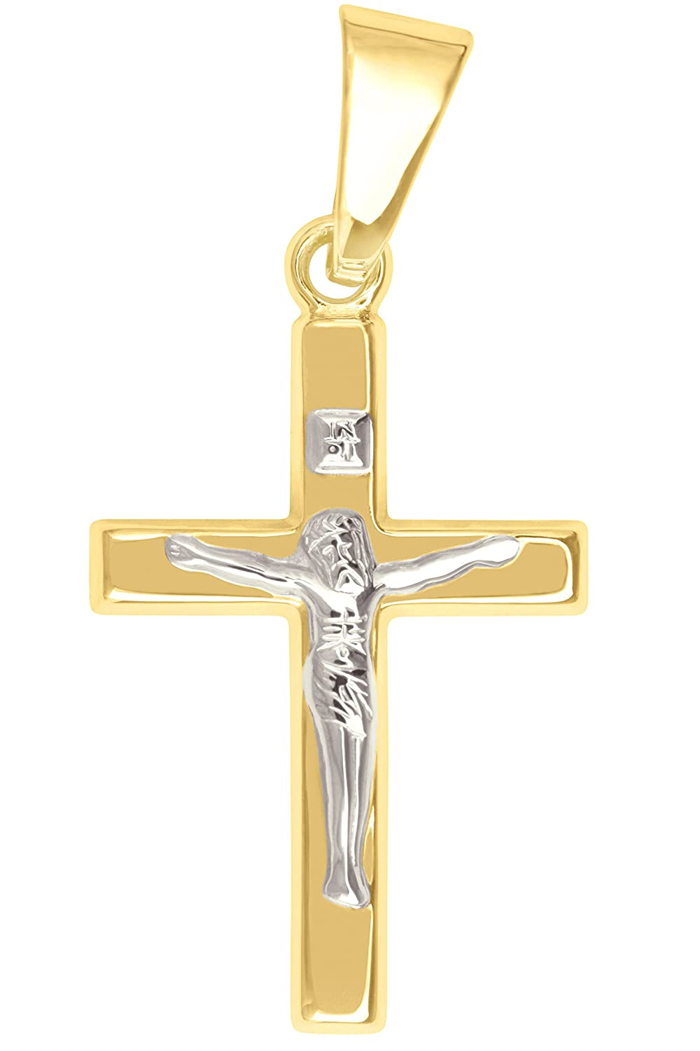 MyGold Kreuz Anhänger (Ohne Kette) Gelbgold Weißgold Weissgold 375 / 750 Gold (9 Karat / 18 Karat) Bicolor 20mm x 10mm Korpus Jesus Taufe Taufgeschenk Taufpate Kommunion The very Best MOD-02212 V0012688