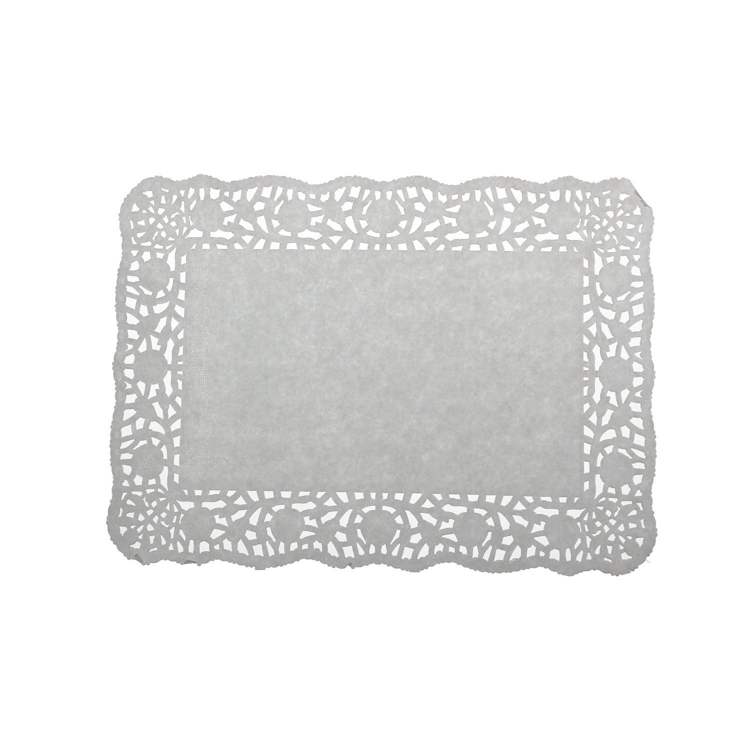 """LJY 100 Pieces White Lace Rectangle Paper Doilies Cake Packaging Pads Wedding Tableware Decoration (7"""" x 9.5"""")"""