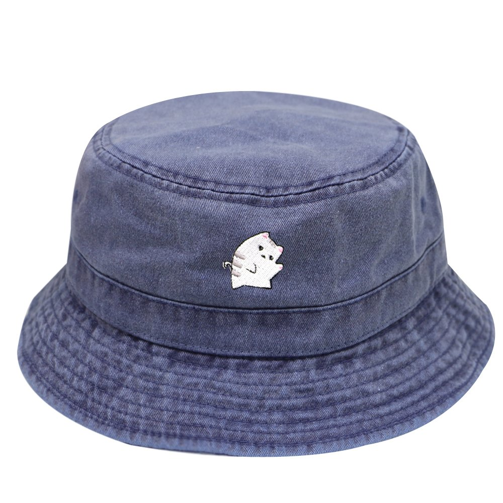 City Hunter Bd2020 Cute Cat Washed Cotton Bucket Hats - Multi Colors (Navy)