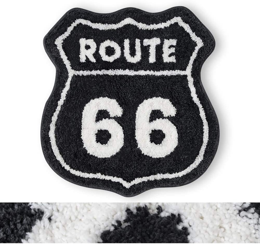 "RORA Bath Mat Black White Route 66 Shield Pattern Western Rustic Style Plush Water Absorbent Bathroom Decor Mat Bathtub Bathroom Doormats Bedroom Kid's Room Non Slip Washable Toilet Rug(22""X23"")"