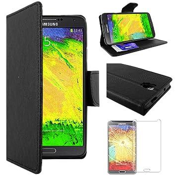 ebestStar - Compatible Funda Samsung Galaxy Note 3 Lite SM-N7505 Carcasa Cartera Cuero PU, Funda Billetera Ranuras Tarjeta, Función Soporte, Negro + ...