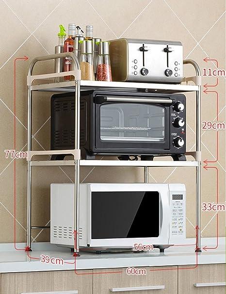 Estantes y soportes para ollas y sartenes HWF Horno de microondas de 2 Capas Estante de