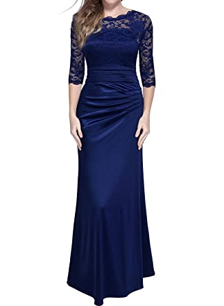 c14760df7dd02b Miusol Damen Cocktail Spitzen Lang Kleid Elegant Brautjungfer Abendkleid:  Amazon.de: Bekleidung