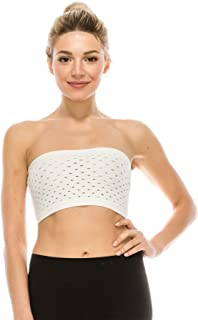 product image for Kurve Women's Strapless Tube Top - Seamless Reversible Mini Bandeau Bra Crop Tube Tops Stretch Bralette (Made in USA) Off White