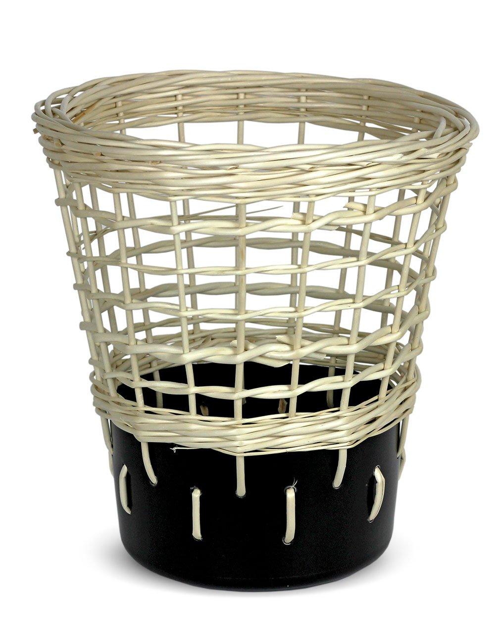 Design Papierkorb Mülleimer für Büro und Home Office in weiß, weiß, weiß, rund mit geflochtener Weide und Plastik, Bow Bin Modell No.2 Weiß B01LXAPYFM | Stabile Qualität  794f4a