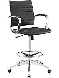 modway jive drafting chair in black reception desk chair tall office chair for adjustable