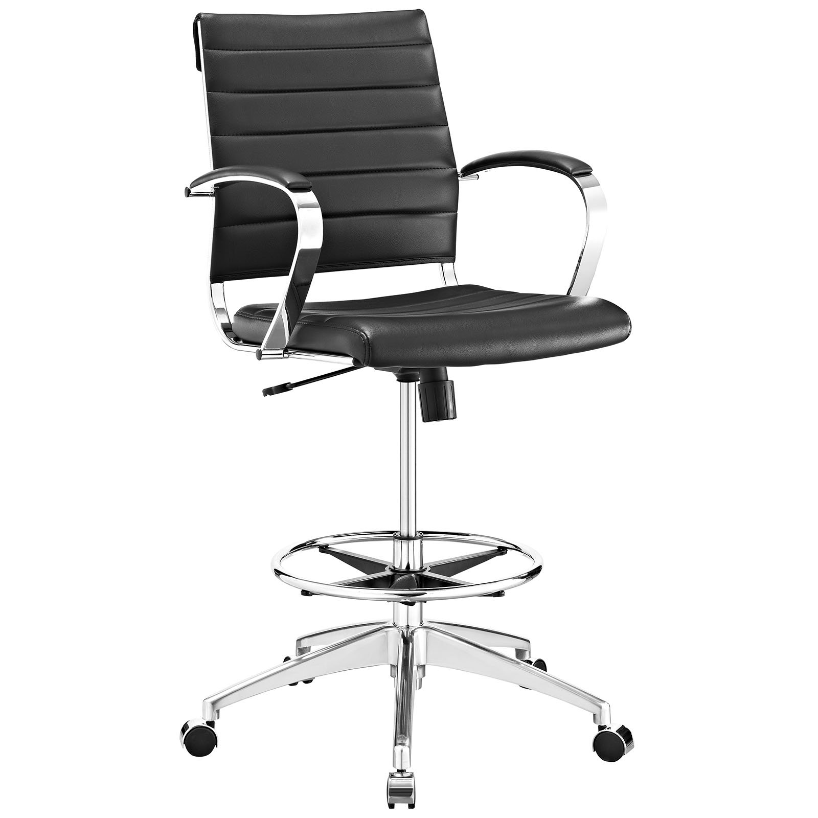 Modway Jive Drafting Chair In Black - Reception Desk Chair - Tall Office Chair For Adjustable Standing Desks - Counter Height Swivel Stool by Modway (Image #1)