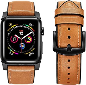 OWNACE [Upgraded] Compatible with Apple Watch Band Oil wax leather 44mm 42mm Series 6 5 4 3 Rugged Hybrid Sports Genuine Leather Vintage Dressy Bands Replacement Sweatproof iwatch Men (brown)