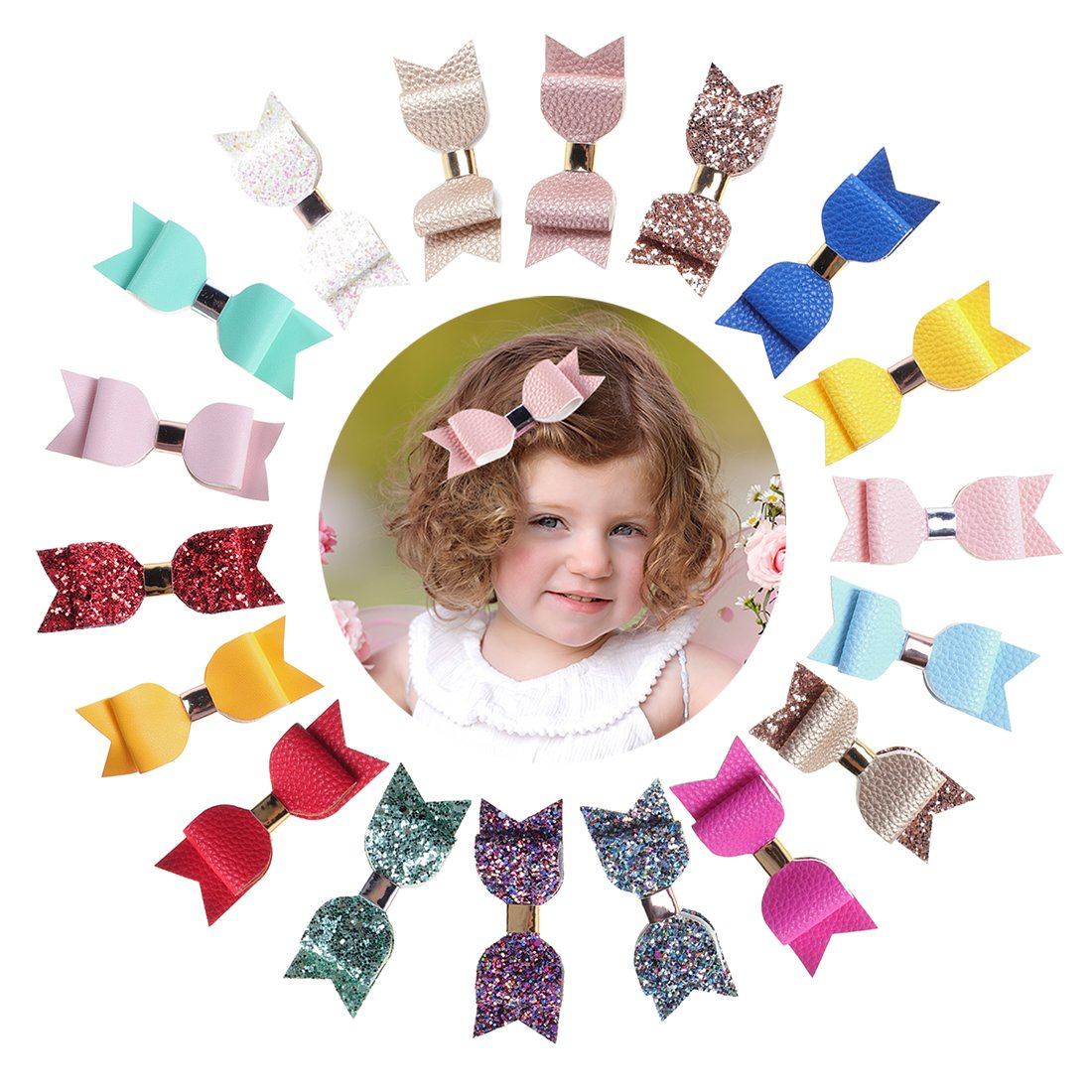 Infant Flower Clips For Baby Girls, Xeababy 12 pcs 2 inch Chiffon Rhinestone Pearl Hair Bow Clips For Baby Girl USA-BEX-050