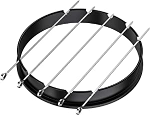 only fire Rotisserie Ring with Kabob Skewer Set for Weber 22 1/2 Inch Kettle and Other Similar Kettle Charcoal Grills