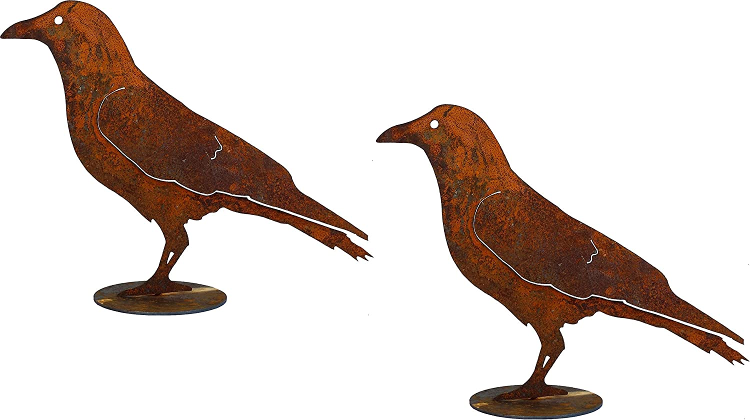 California Home and Garden CH805-2 Set of 2 Metal Crow Silhouettes on Base 10 Inch Tall, Rustic Look Artwork