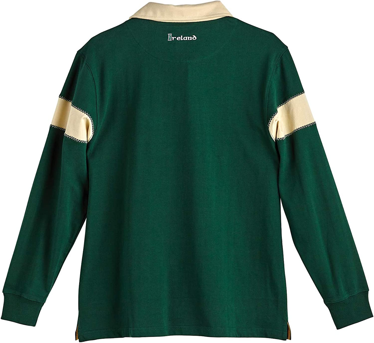 Green and Ivory Sport Top with Celtic Cross Mens Ireland Rugby Jersey Shirt
