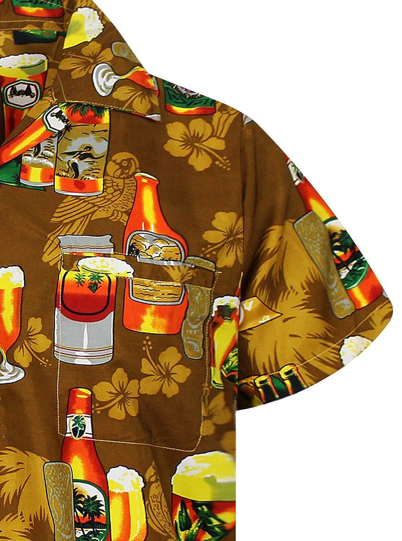 Funky Hawaiian Shirt Men Short Sleeve Front-Pocket Beerbottle Multiple Colors V.H.O