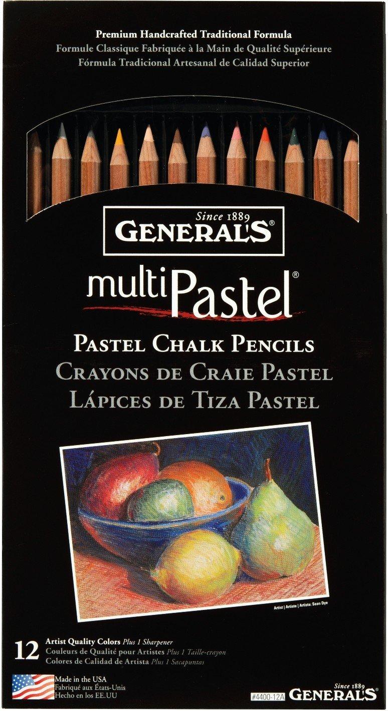 General Pencil 4400-12A General's Pastel Chalk Pencils, 12 Colors, Multicolor by General Pencil