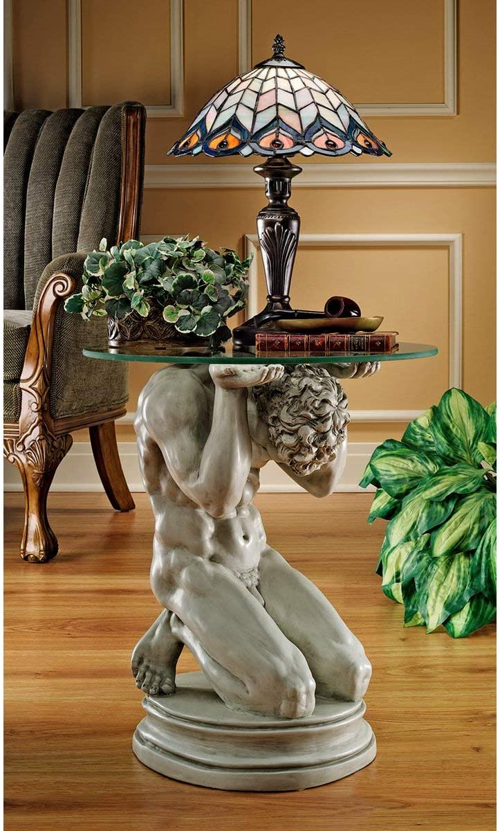 Design Toscano EU34295 Neoclassical Male Occasional Table Two Tone Black /& Gold