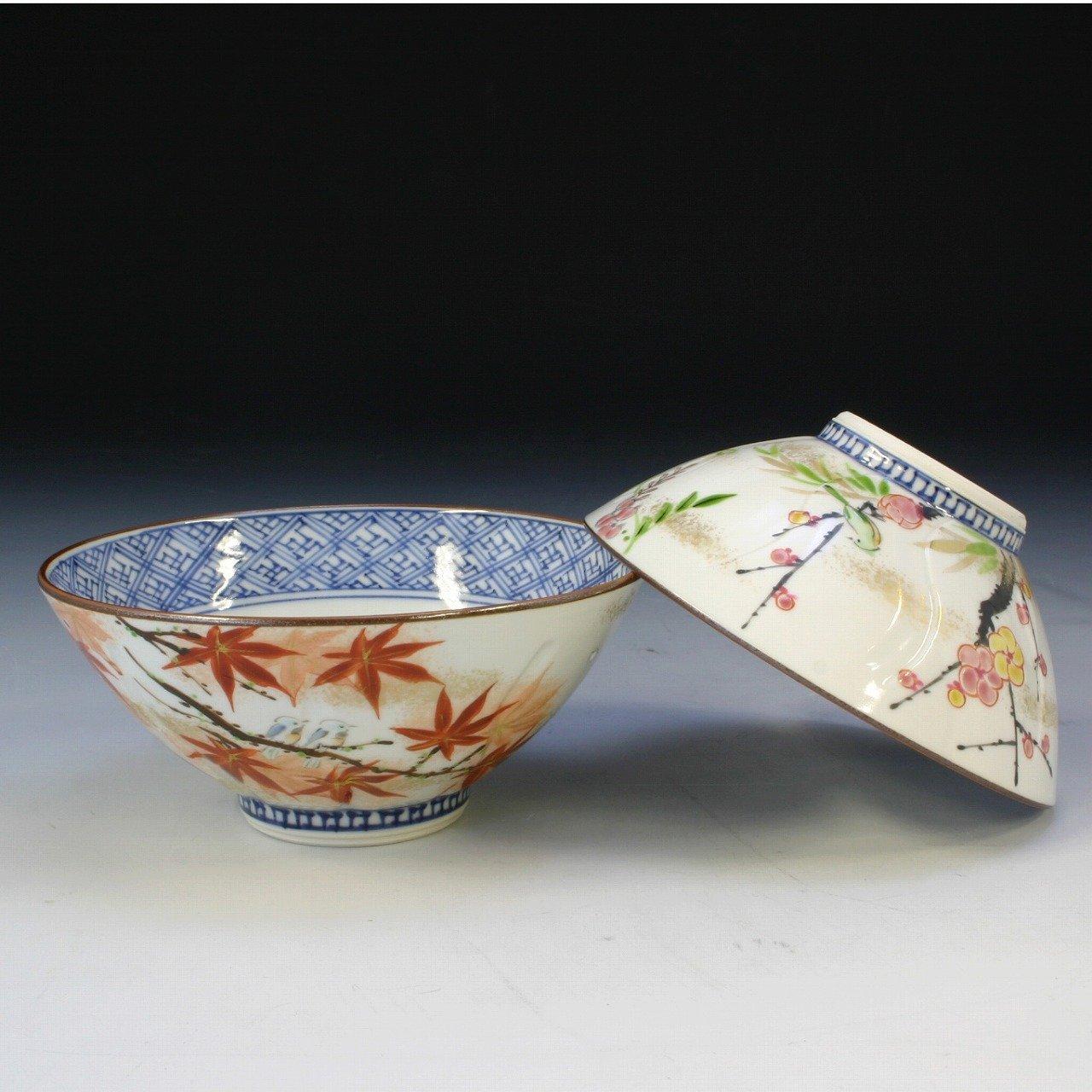 LIS250 清水焼 京焼 夫婦茶碗 飯碗 ギフト彩花鳥 組   B006M07TYC