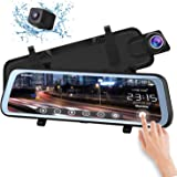 """CHICOM Mirror Dash Cam Backup Camera 9.66"""" Full Touch Screen Stream Media Dual Lens Full HD Reverse Camera,1080P 170° Full HD Front and 1080P 140°Wide Angle Full HD Rear View Camera,24-Hour Parking (Black)"""
