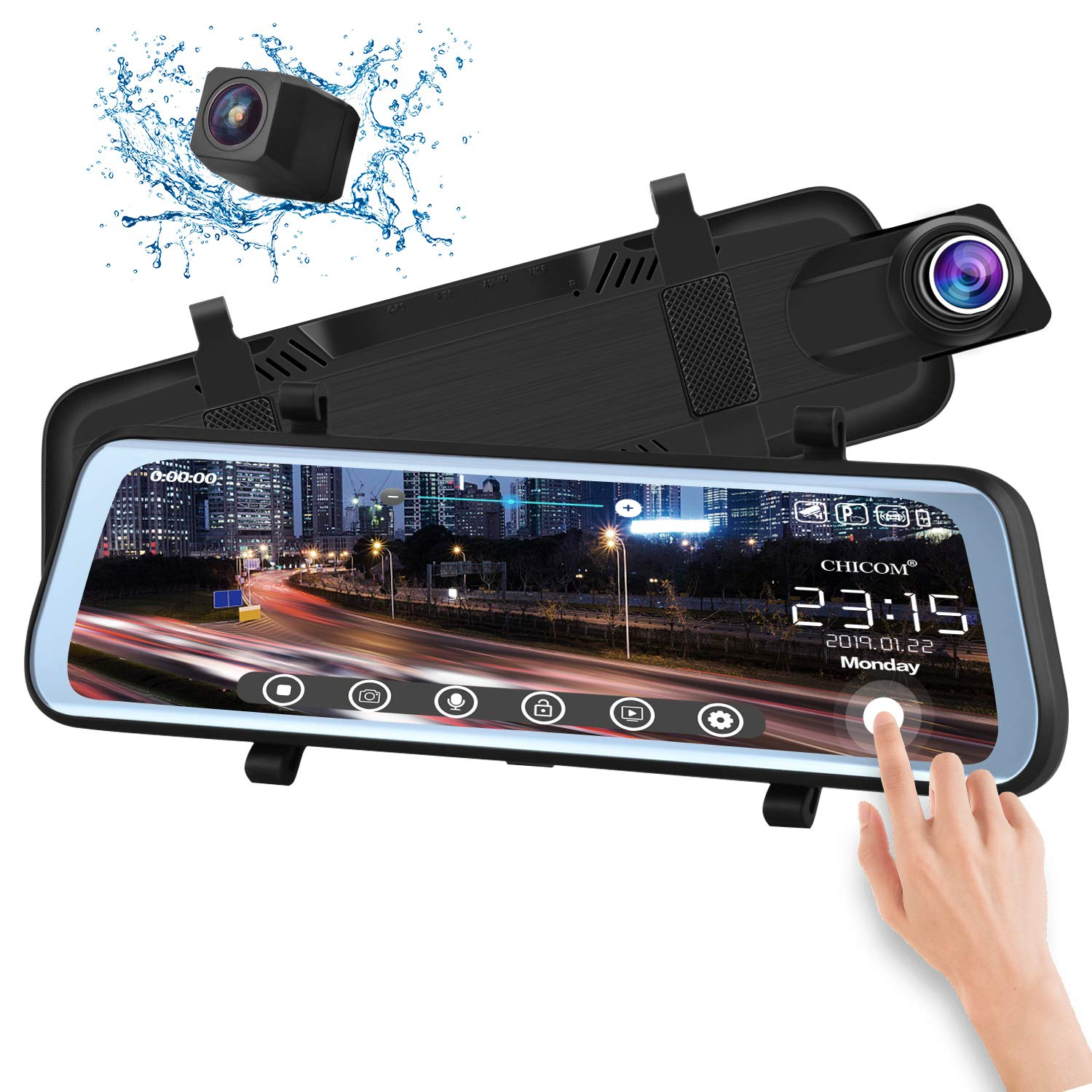 CHICOM V21 9.66 inch Mirror Dash Cam Touch Full Screen ; 1080P 170° Full HD Front Camera;1080P 140°Wide Angle Full HD Rear View Camera;Time-Lapse Photography by CHICOM
