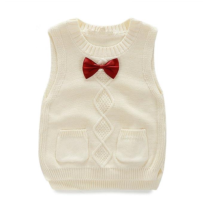 8e60132fc Amazon.com  Toddler Baby Boy Girl Cable Knit Vest Cotton Bow ...