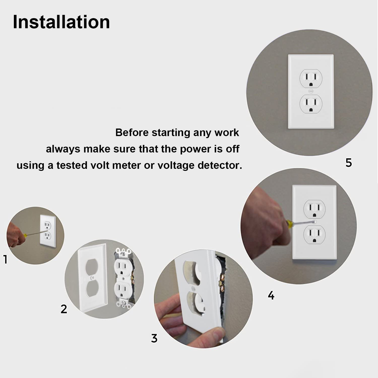 White UL//cUL Listed 30 Pack 15A//125V//1875W Wall Plate Included BESTTEN Decorator Electrical Wall Receptacle Outlet Non-Tamper-Resistant for Residential and Commercial Use