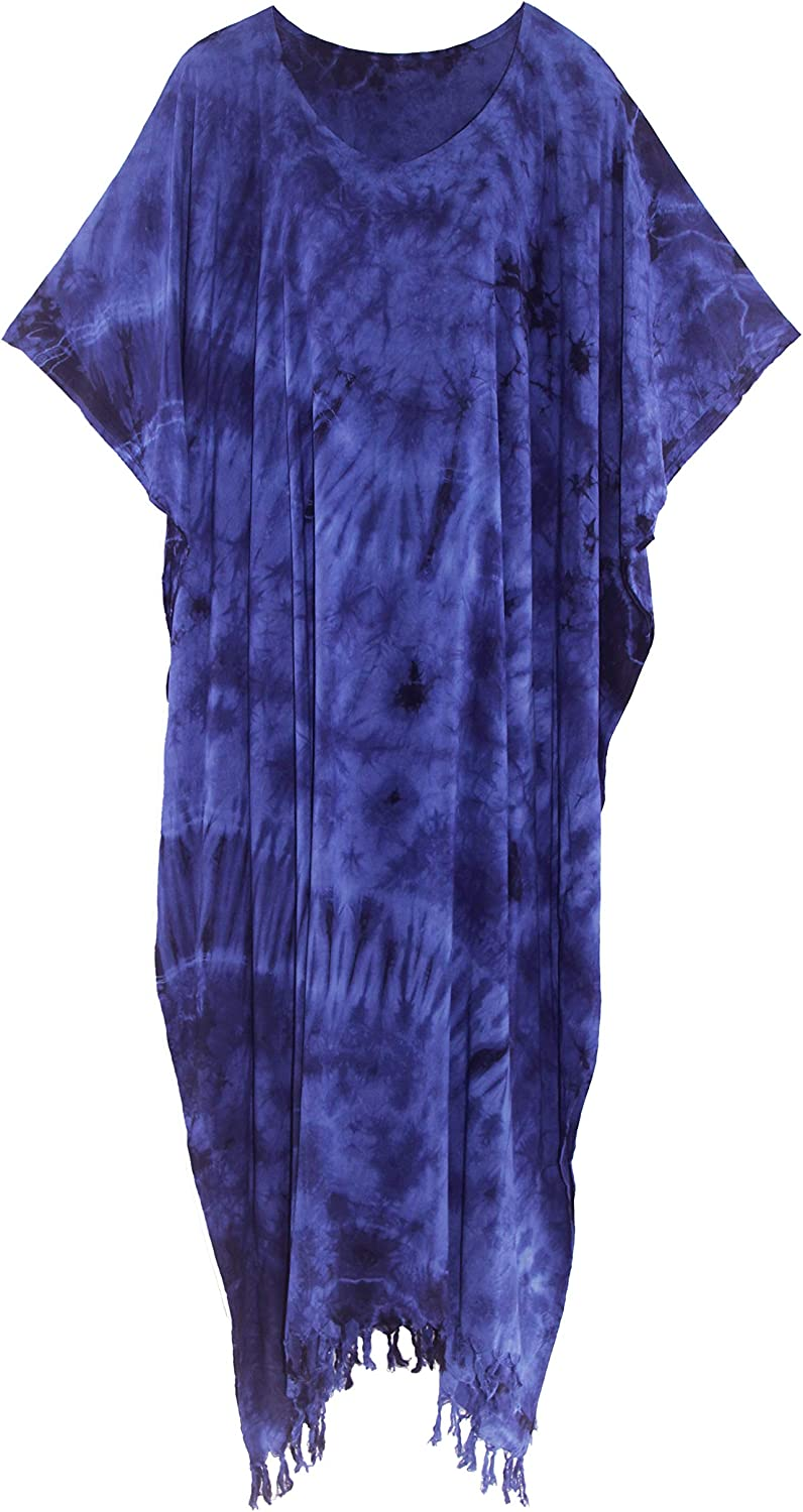 Beautybatik Women Hippie Tie Dye Caftan Kaftan Loungewear Maxi Plus Size Long Dress