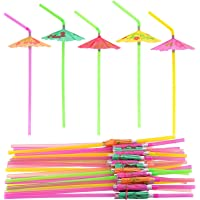 FEPITO 58 PCS Umbrella Drinking Straws,Parasol Bendy Drinking Straws for Hawaiian Beach Cocktail Luau Tropical Party…