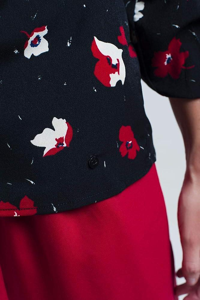 Q2 Camisa Negra con Flores Rojas y Blancas, M Mujeres: Amazon.es: Ropa y accesorios