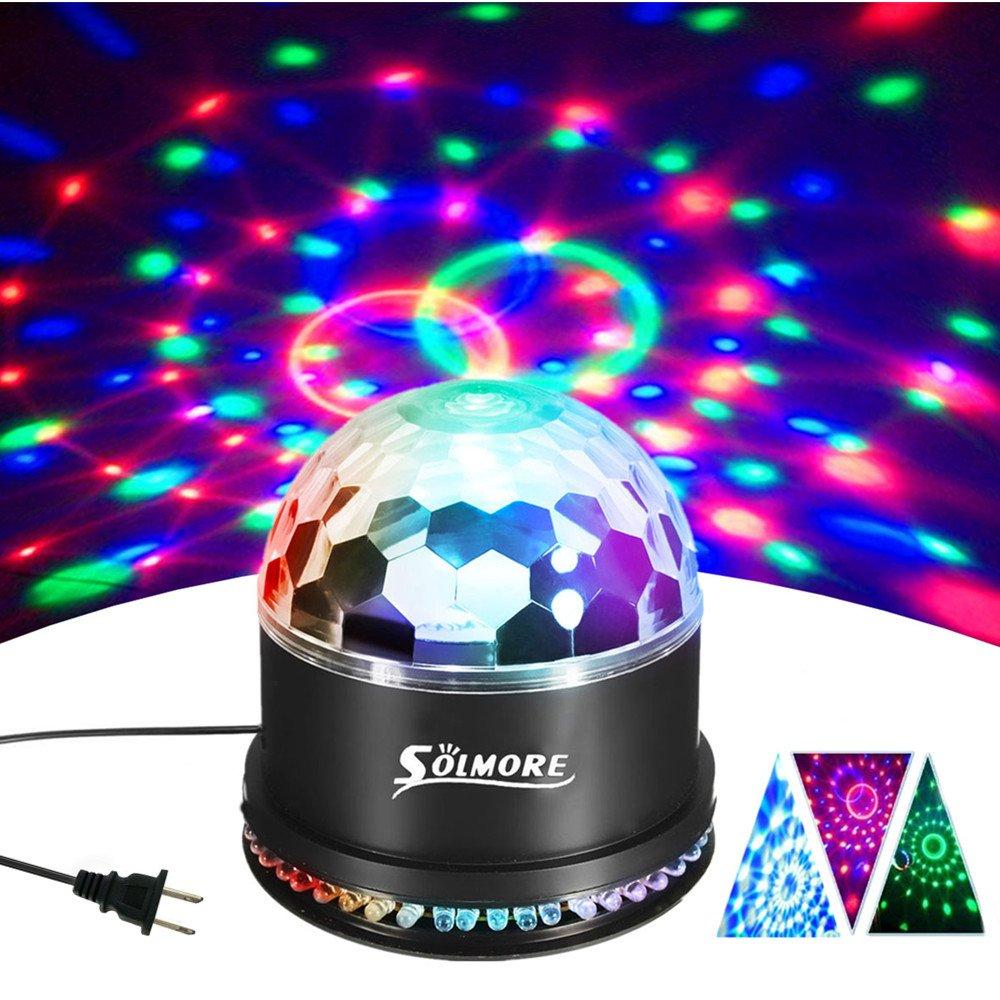 Disco Ball Lights, SOLMORE 12W Sound Actived RGB LED Party Lights Stage DJ Lights Strobe Light Crystal Magic Rotating Light for KTV Party Wedding Home Show Club Pub Decor AC85V-260V