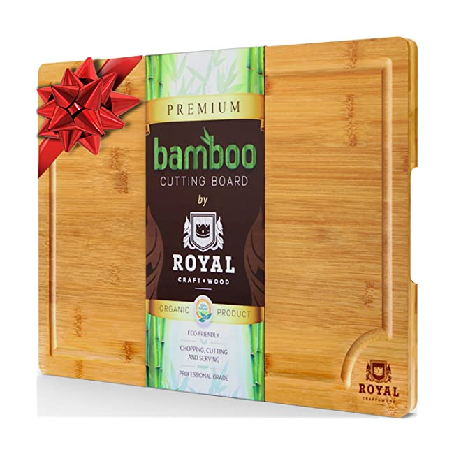 EXTRA LARGE Organic Bamboo Cutting Board with ...