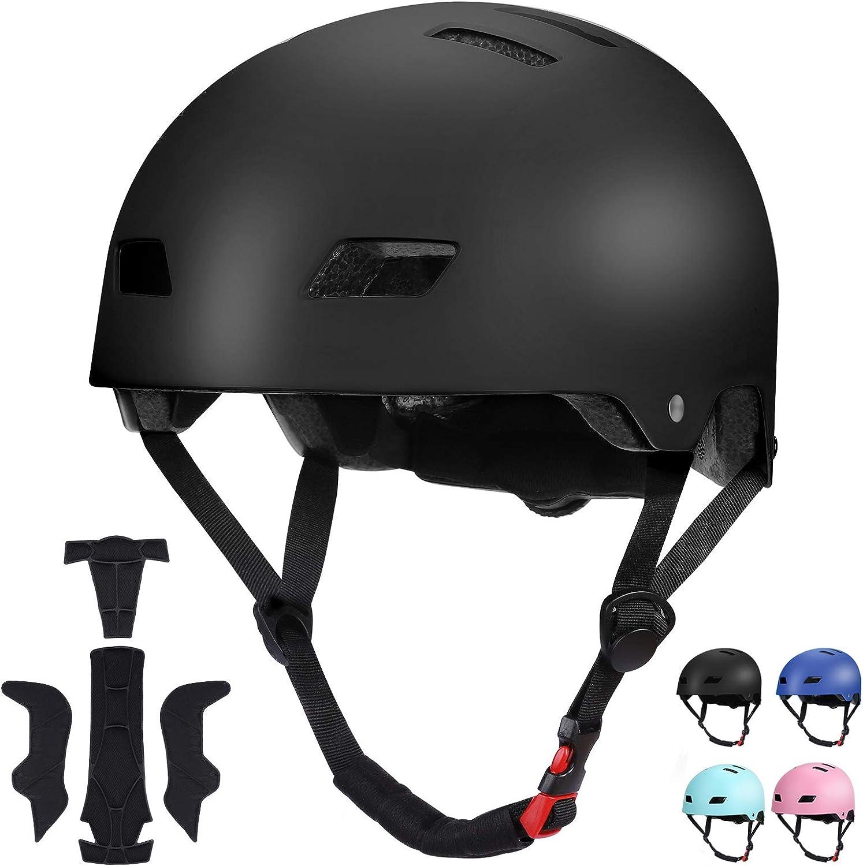 SKL Kids Skateboard Helmet Impact Resistance Lightweight Helmet for Skating Cycling Scooter Skateboarding Inline Skating Longboard Boys Girls Adjustable Helmet Bike Helmet for 8-13 Years Old