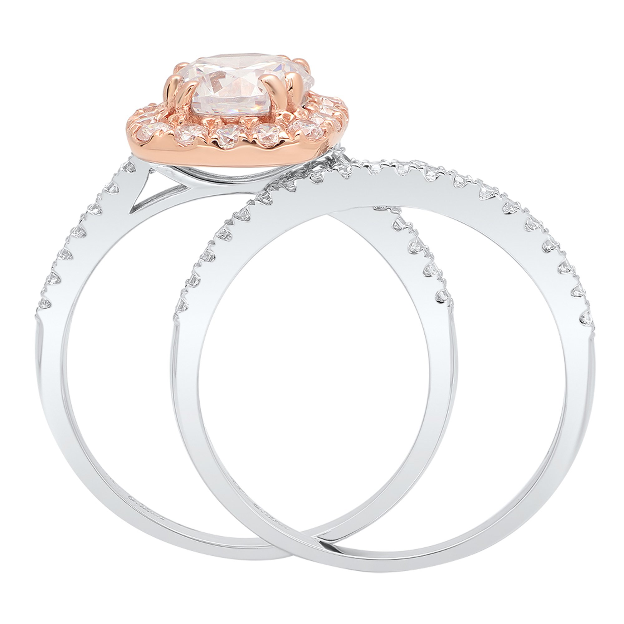 2.35 CT Round Brilliant Cut Simulated Diamond CZ Designer Solitaire Pave Halo Ring band set Solid 14k White and Rose Multi Tone Gold by Clara Pucci (Image #2)