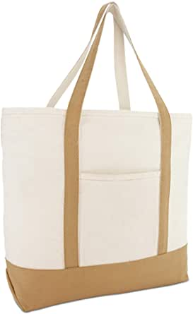"""22"""" Heavy Duty Cotton Canvas Tote Bag (Zippered)"""