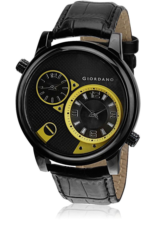 Giordano Analog Multi-Color Dial Men's Watch - 60058 Black/Yellow