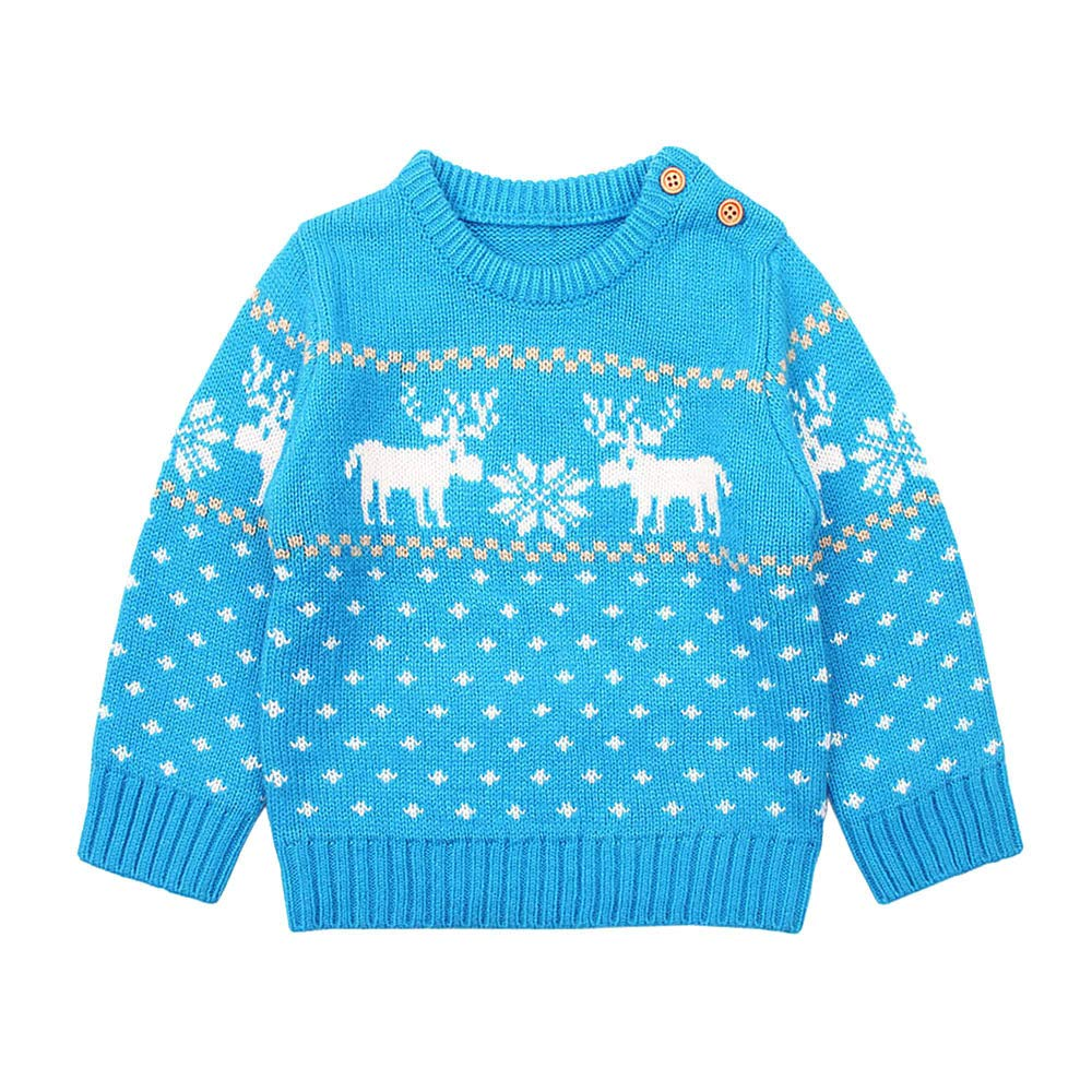 Baby Boy Girl Christmas Long Sleeve Sweater Toddler Kids Knitted Sweatshirt O-Neck Cute Knitwear T-Shirt Fashion Clothes Outfits Blouse Tops
