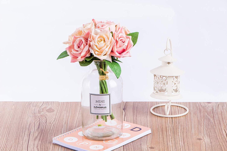 Confezione da 2 Rose Artificiali in Seta 9 boccioli LAWEI Bouquet da Sposa